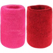 Neska Moda Unisex Pink And Maroon Pack Of 2 Cotton Wrist Band