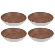 Merkloos 6x Diepe borden voor camping houtprint 20 cm