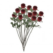 Mica Decorations 12x Rode rozen kunstbloemen 69 cm