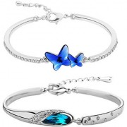 Om Jewells Rhodium Plated Blue Love Valentino Bracelets Combo with crystal stones for girls and women CO1000113