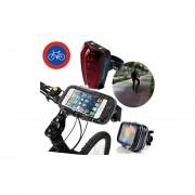 Set Importadora USA de LuzTrasera + Funda para Smartphone para Bicicletas-Multicolor