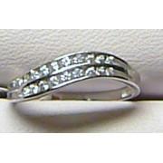 Luxusní dámský prsten z bílého zlata posetý zirkony 22 ks 585/1,37gr vel.52 P156