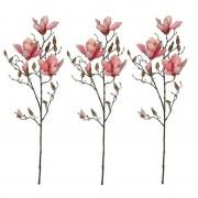 Shoppartners 3x Roze Magnolia/beverboom kunsttak kunstplant 90 cm