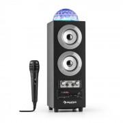 DiscoStar Silver portabler 2.1-Bluetooth-Lautsprecher USB Akku LED Mikro