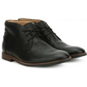 Clarks Broyd Mid Black Leather Boots For Men(Black)