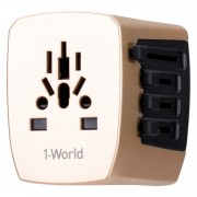 MOMAX 1-World AC Travel Adapter Worldwide Travel Wall Charger for Phones and Tablets - Champagne Gold Color