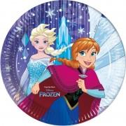 Disney 8x Frozen feestartikelen borden 23 cm papier/karton