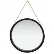 vidaXL Стенно огледало с каишка, 60 см, черно