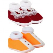 Neska Moda Pack Of 2 Baby Boys And Girls Orange And Maroon Cotton Booties For 0 To 12 Months