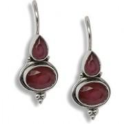 Silverwala Spring Sparkle Ruby Silver Drop Earring (TRS3691B)