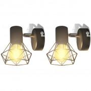 vidaXL 2 apliques de arame estilo industrial com LED, preto