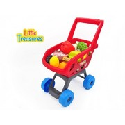 Little Treasures Home Shopping Cart Grocery Supermarket Playset With 22 Accessories For Kids Ages 3 And Up Fun Pretend Play For Boys And Girls