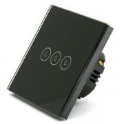 Intrerupator triplu smart Vhub cu touch, panou sticla, Wifi integrat 2.4GHz, compatibil Google Alexa, negru