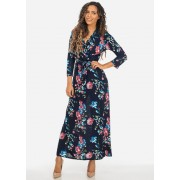 CheapChic Floral Print Navy and Pink 34 Sleeve Wrap Front Maxi Dress w Belt Included Multicolor