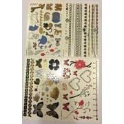 Temporary Tattoos 4 Pages Of Metallic Temporary Tattoos For Kids (Girls) Black, Silver, Pink, Blue & Gold Tattoo Jewelry, Animals, Butterflies, Bracelets, Flowers, Hearts, & More | Twink Designs