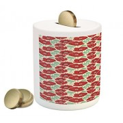 Poppy Coin Box Bank by Ambesonne, Spring Garden Pattern with Red Blossoms Seed Capsules and Little Dots, Printed Ceramic Coin Bank Money Box for Cash Saving, Mint Green Ruby and Beige