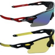Zyaden Wrap-around Sunglasses(Multicolor, Yellow)