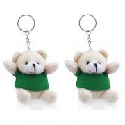 Merkloos 5x stuks teddybeer knuffel sleutelhangertjes groen 8 cm - Knuffel sleutelhangers