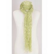 Groene met witte netgeweven chenille sjaal