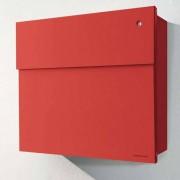 Radius Design Letterman 4 Briefkasten rot (RAL 3020) mit Klingel in rot mit Pfosten in Briefkastenfarbe