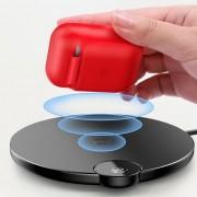 Baseus AirPods vezeték nélküli töltő tok Szilikon védőtok vezeték nélküli töltési funkció Apple AirPods fejhallgató (WIAPPOD - 09) piros