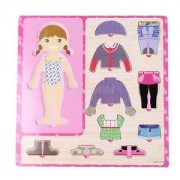 Alcoa Prime 10Pcs Match Wooden Girl Dress-Up Puzzles Kids Matching Pretend Play Toy