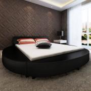 "vidaXL ""Rama łóżka, czarna, skórzana, okragła + materac 180x200 cm"""