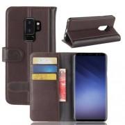Notesz tok / flip tok - BARNA - valódi bőr, asztali tartó funkciós, oldalra nyíló, rejtett mágneses záródás, bankkártyatartó zseb, szilikon belső - SAMSUNG SM-G965 Galaxy S9+