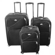 Max K989če kufr cestovní textilní set 3ks černý