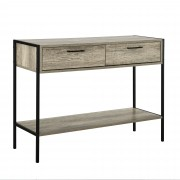 [en.casa]® Íróasztal konzol asztal két fiókkal Catania 78 x 100 x 35 cm design sminkasztal fém - fa