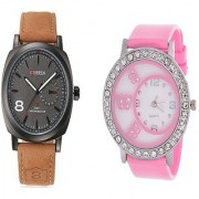 Curren Brown Black Dial and Round Dial Buterfly Pink Women Watches for Men and Women