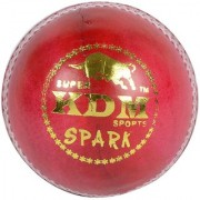 KDM Sports Spark Cricket Leather Ball (Pack of 1 Red)