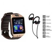 Zemini DZ09 Smart Watch and QC 10 Bluetooth Headphone for Samsung Galaxy C7 Pro(DZ09 Smart Watch With 4G Sim Card Memory Card| QC 10 Bluetooth Headphone)