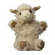 Merkloos Pluche lichtbruine lama/alpaca handpop knuffel 22 cm speelgoed