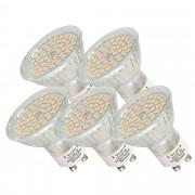 [lux.pro]® Set de 5 bombillas LED SPOT GU10 230V HI-POWER 54 SMDs - luz blanca cálida foco empotrable bajo consumo