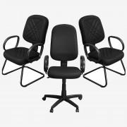 Kit 1 Cadeira Presidente e 2 Cadeiras Interlocutores - Pethiflex