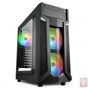 "Sharkoon VG6-W RGB, no PSU, 1x5.25"", 3x3.5"", 4x2.5"", USB3.0, Front 2x120mm RGB fan/ Rear 1x120mm RGB fan, ATX Midi Tower, black"