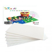 """Brick building base plates small 5""""X10"""" baseplates (6 pack white) Tight fit Lego compatile"""