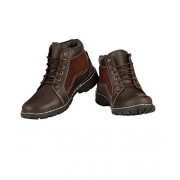 ZebX Perfect Comfortable Light Weight Brown Men Leather Lace Up Mid Ankle Boots