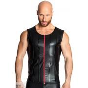 Noir Handmade Zipper & Line Segment Muscle Top T Shirt Black H033