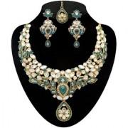 Kriaa by JewelMaze Zinc Alloy Gold Plated Blue Austrian Stone Kundan Necklace Set With Maang tikka-AAA0537