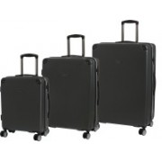IT Luggage Conquer Polycarbonate Hardsided Suitcase Set | Large, Medium & Cabin Lightweight Travel Bags|8 Wheel Trolley|16-2289-08|Set of 3 Expandable Check-in Luggage - 31 inch(Grey)