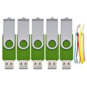 FbscTech 5 Pack:2GB 2G USB 2.0 Flash Drive Swivel Design 9 Color Choice