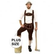 Geen Oktoberfest - Grote maat lange lederhosen suedine donkerbruin voor heren