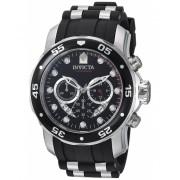 Invicta Watches Invicta Men's 6977 Pro Diver Collection Chronograph Black Dial Black Polyurethane Watch BlackBlack