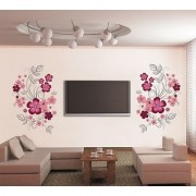 Walltola PVC Multicolor TV Background Floral Wall Sticker (59X35 Inch) (No of Pieces 2)