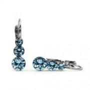 Snowman Swarovski® kristályos nemesacél fülbevaló - Light Sapphire
