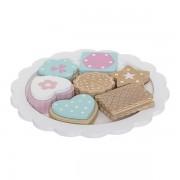 Bloomingville Drewniane ciasteczka do zabawy – zestaw 8 ciastek na talerzyku, dla lalek,