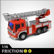 FMT 1:16 Friction Powered Toy Fire Engine Rescue Truck With Lights & Sound Push & Go Friction Truck Toy For Boys & Girls