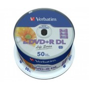 "BLANK DVD+R Verbatim DL 8X 8.5GB 50PK SPINDLE PRINTABLE ""97693"""